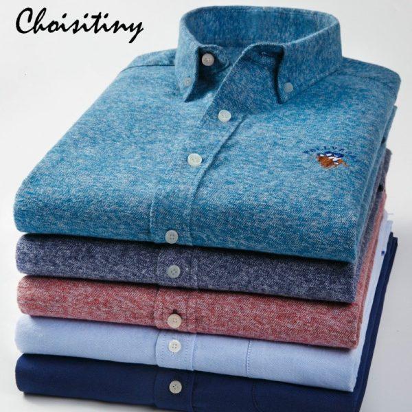 100% Cotton Plain Shirt Men Spring Casual Shirts