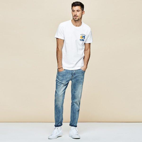 100% Cotton Print White T Shirt