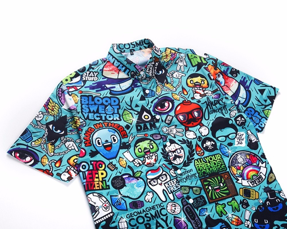 3D Cartoon Print Hawaiian Shirt