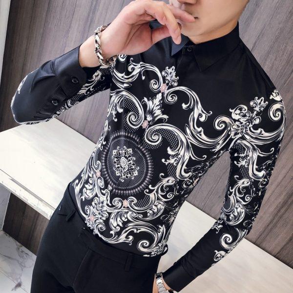 Black Shirt Men Club Prom Shirt