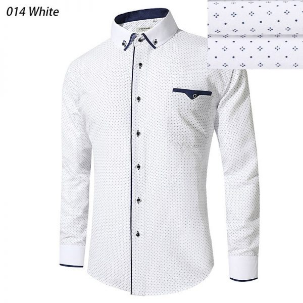 Blue Dress Shirts Men Long Sleeve Casual Shirt