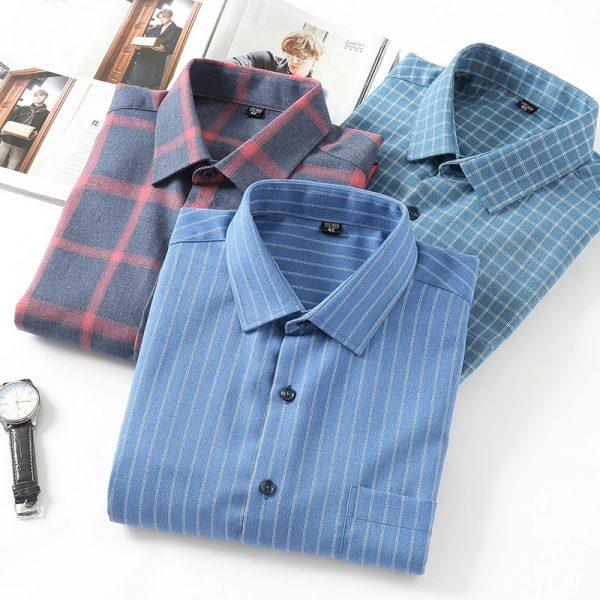 Brushed Plaid Striped Shirts