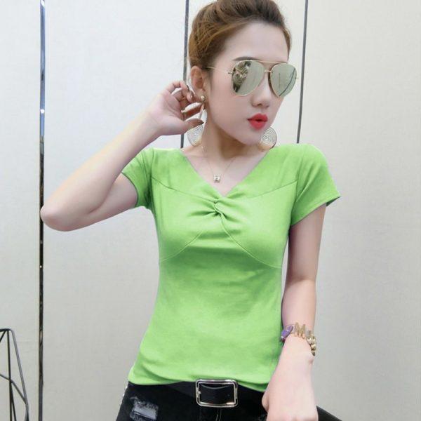 Cross V-neck Cotton T Shirts