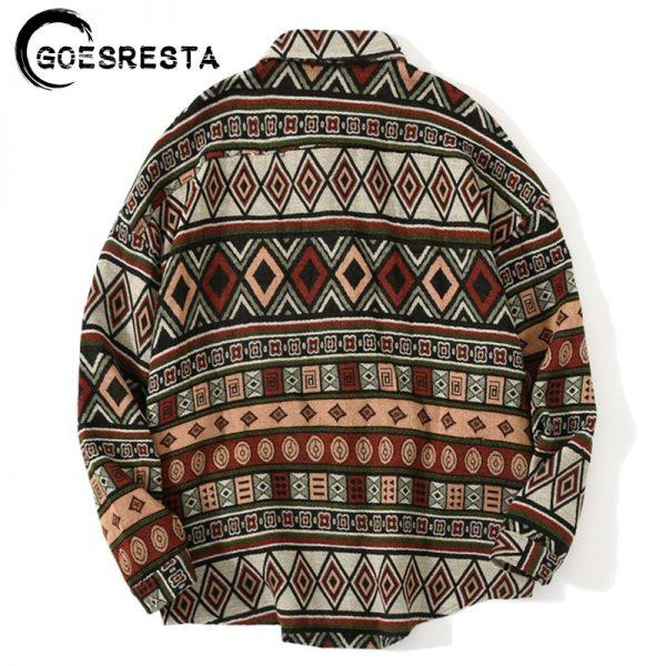 Geometric Stitching Woolen Shirt