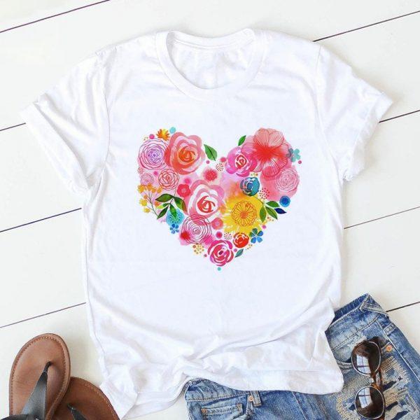 Heart Flower Women Tshirt
