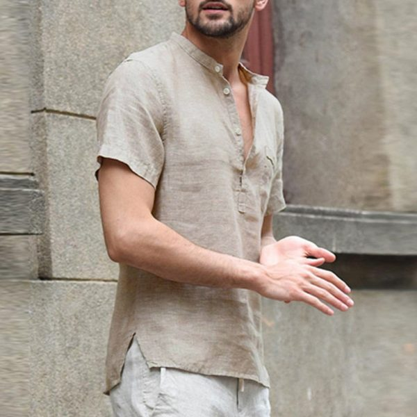 Linen Short Sleeve Retro Shirts