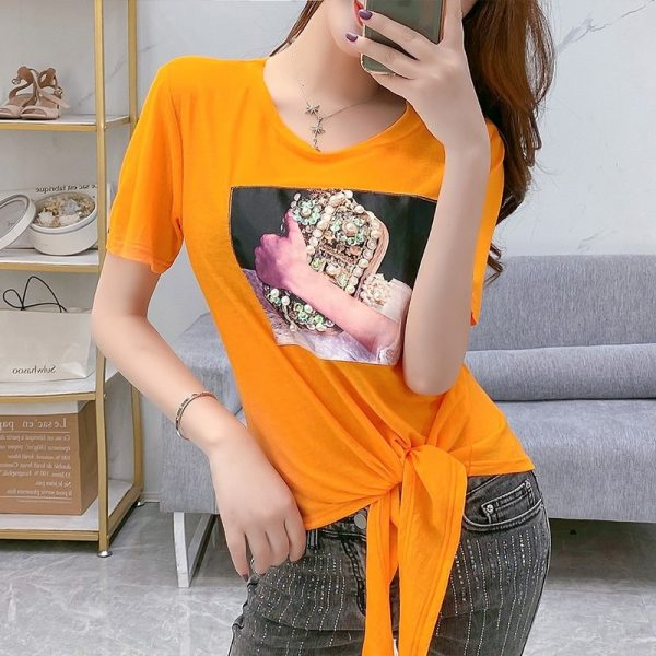 Loose T-shirt Sexy Print