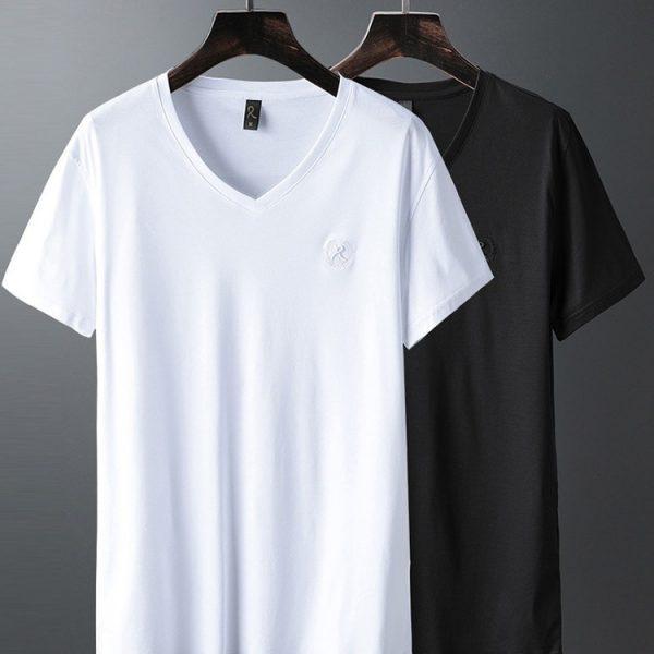 Luxury V Neck Ice Silk T Shirt