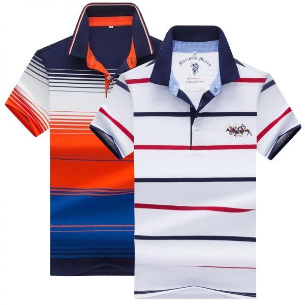 Man Polo Shirt Casual Striped Shirt