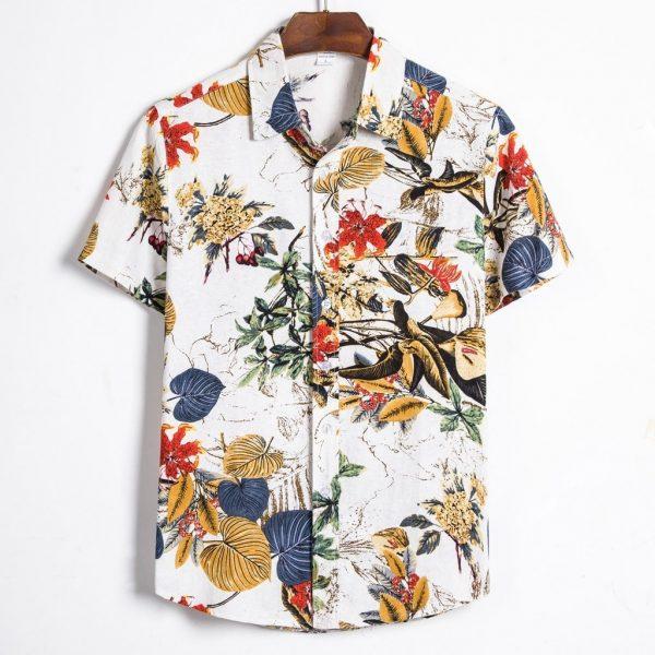 Man Shirt Hawaiian Henley Shirt