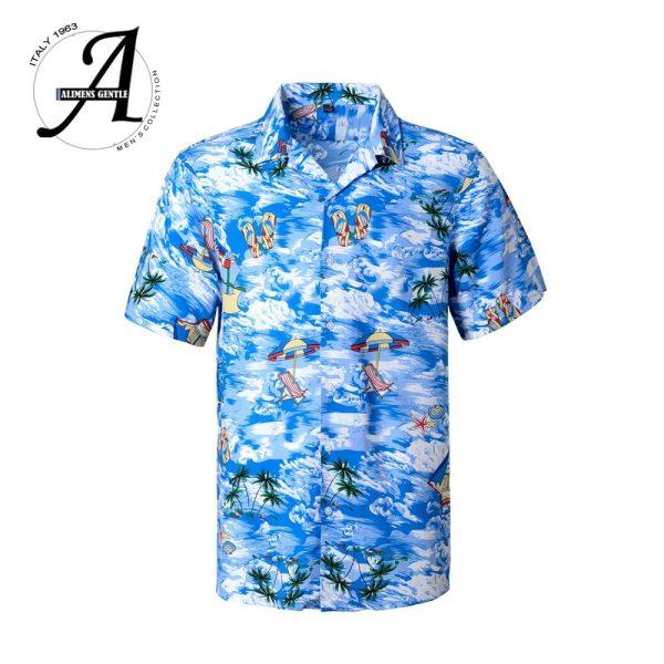 Men Beach Hawaiian Shirt Casual Floral Shirts