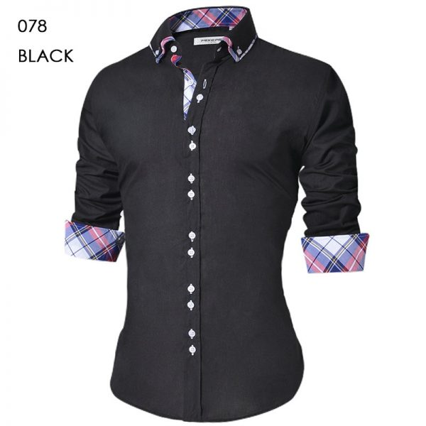 Men Casual Shirt Long Sleeve Formal Dress Shirts