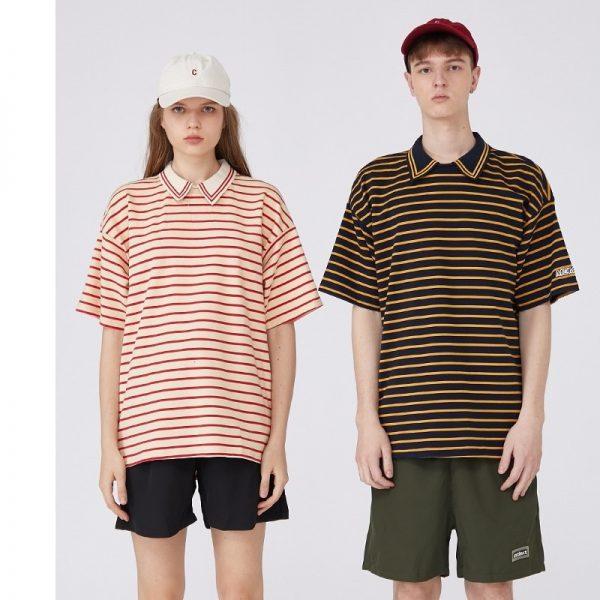 Men Casual T-shirt Striped Tee Shirts