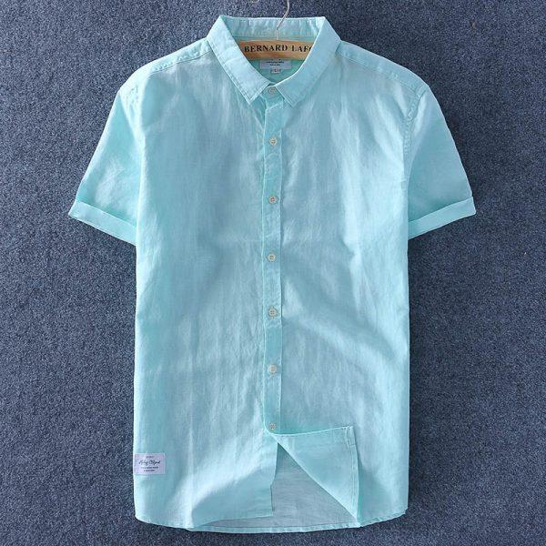 Men Cotton Linen Shirt Thin Top Slim Casual Shirts