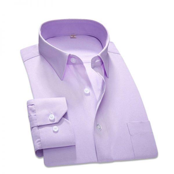 Men Dress Shirt Business Shirts Classic Fit Twill