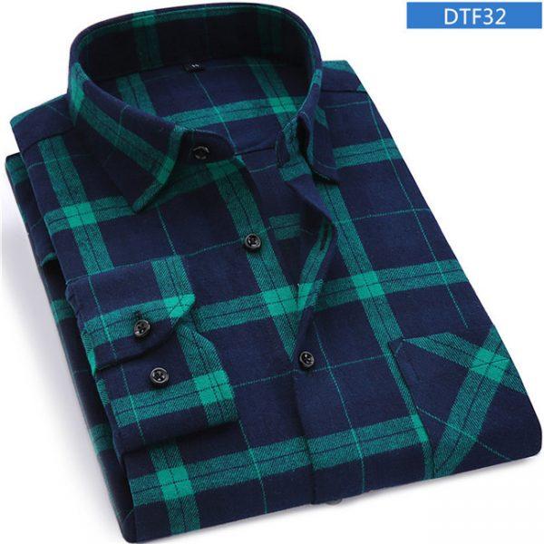 Men Flannel Plaid Shirt Long Sleeve Shirt