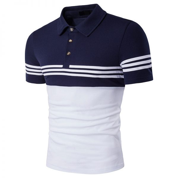 Men Polo Shirt Stripe Summer Shirt