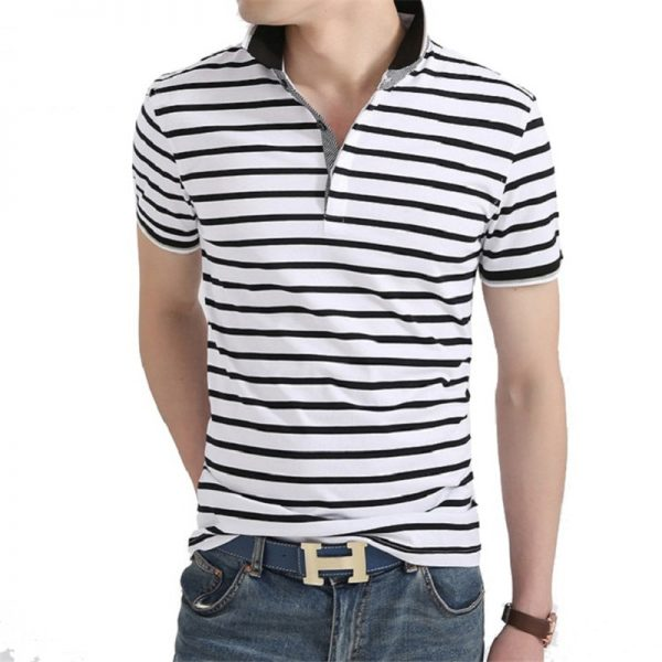 Men Polo Shirt Summer Striped Polo Shirts