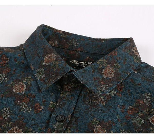 Men Printed Flower Shirts Casual Cotton Shirt