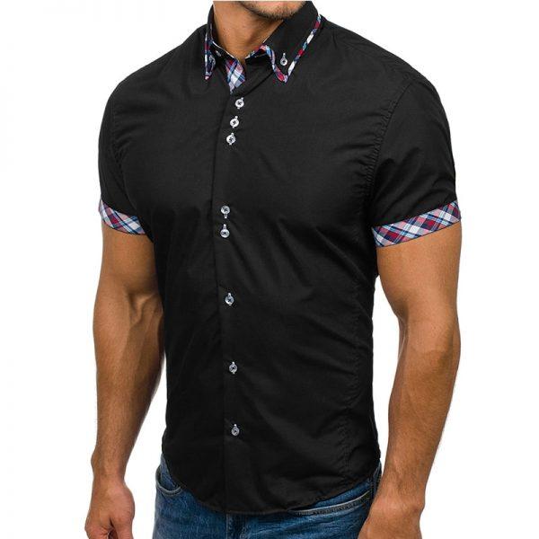 Men Shirt Fashion Slim Short Sleeve Dress