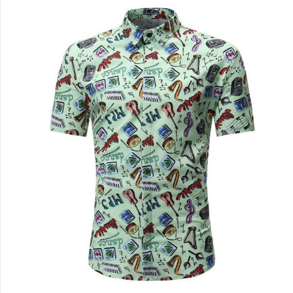 Men Shirt Summer Print Beach Hawaiian Shirt