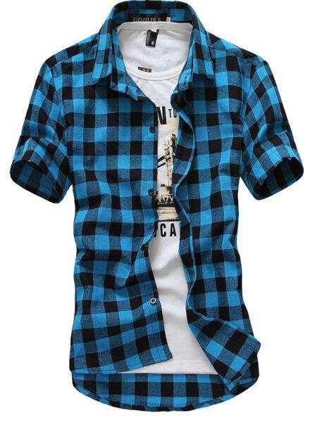 Men Shirts Fashion Chemise Short Sleeve Shirt