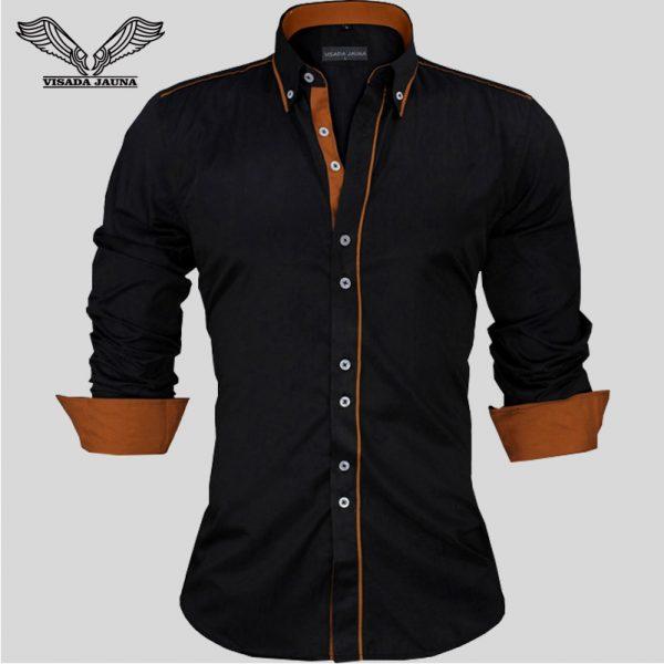 Men Shirts Slim Fit Male Shirt Solid