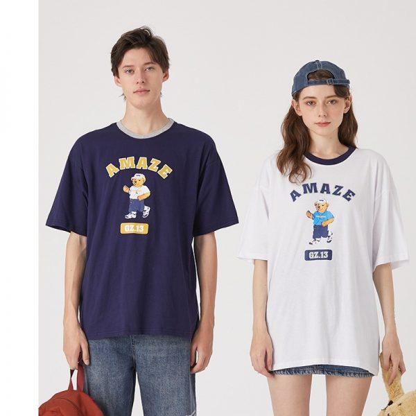 Men T Shirt Loose Bears Printing T-shirt
