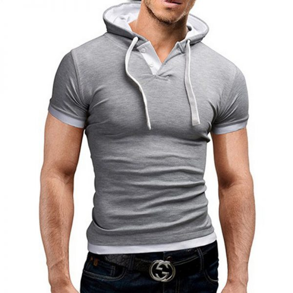 Men Tshirt Hooded T-Shirt Homme Fitness T Shirt