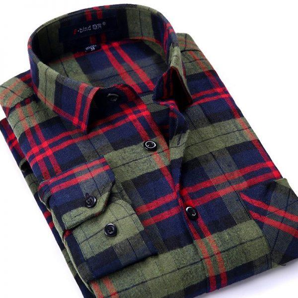 Plaid Shirt Flannel Checkered Shirt Men Shirts