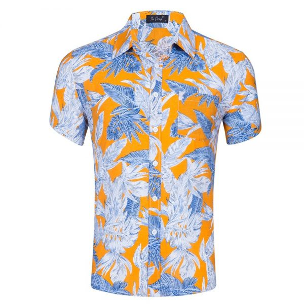 Short-sleeved Men Hawaiian Shirts Beach Printed Shirt