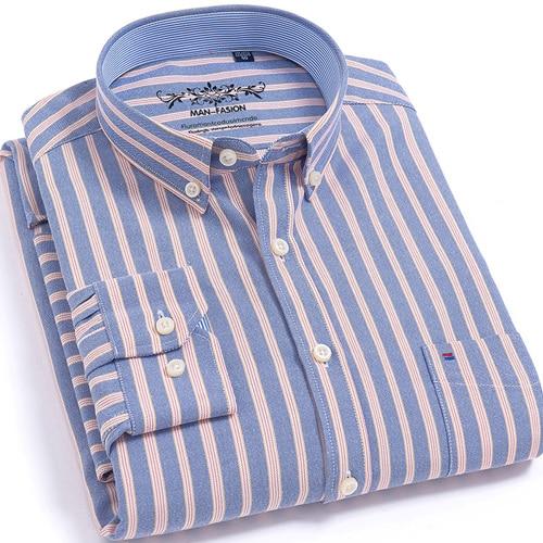 Striped Oxford Dress Shirt Buttoned Down Shirts