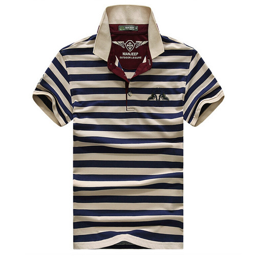 Summer Casual Striped Shirt Men Polo Shirt