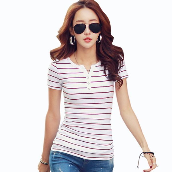 Summer Striped T-Shirts V-Neck Short Sleeve