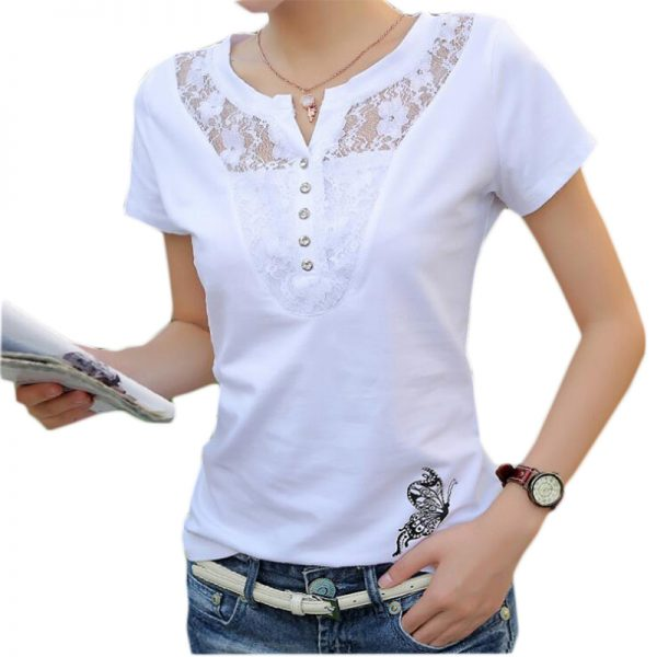 Summer T-shirt Women Casual Lady Top Tees