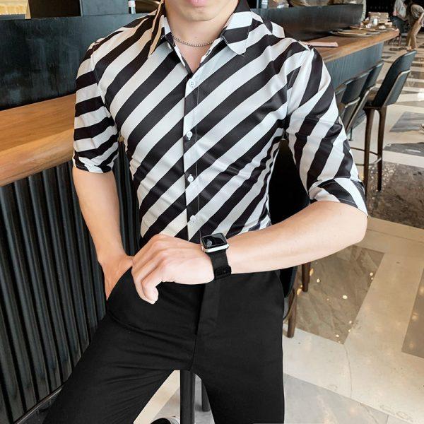 Black Gold Stripe Casual Shirts
