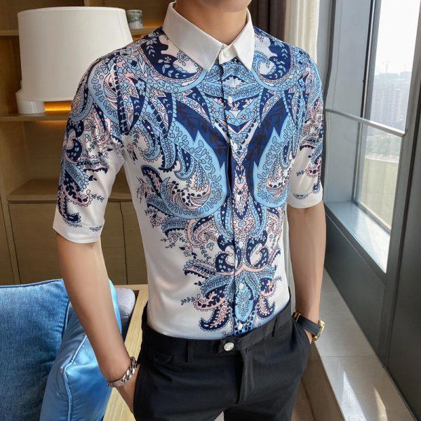 Blue Paisley Print Floral Shirt