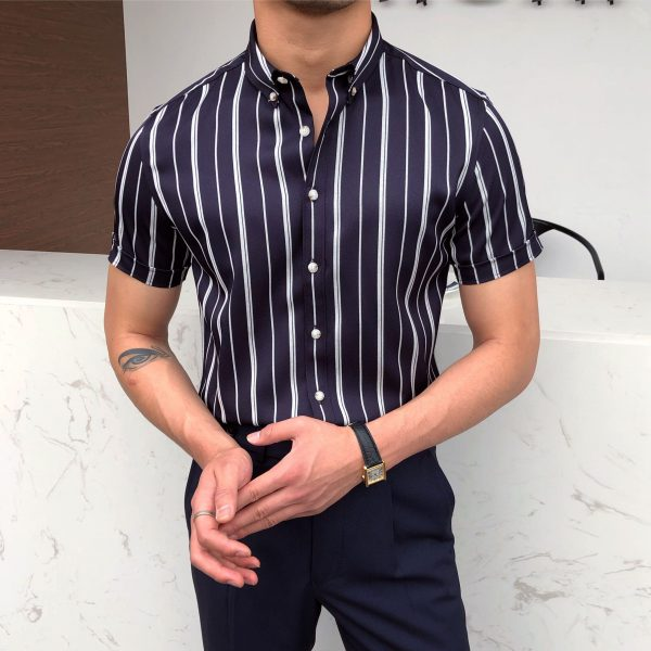Short Sleeve Tuxedo Stripe Shirt