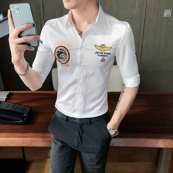 Summer Print Embroidery Luxury Shirt6