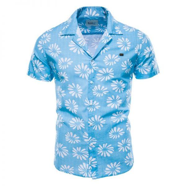 100% Cotton Linen Shirt Flower Printed