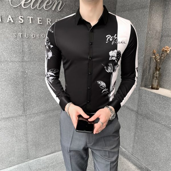Digital Print Fashion Patchwork Shirt5