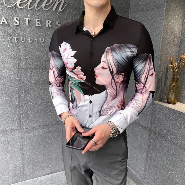 Digital Print Shirts Men Fashion