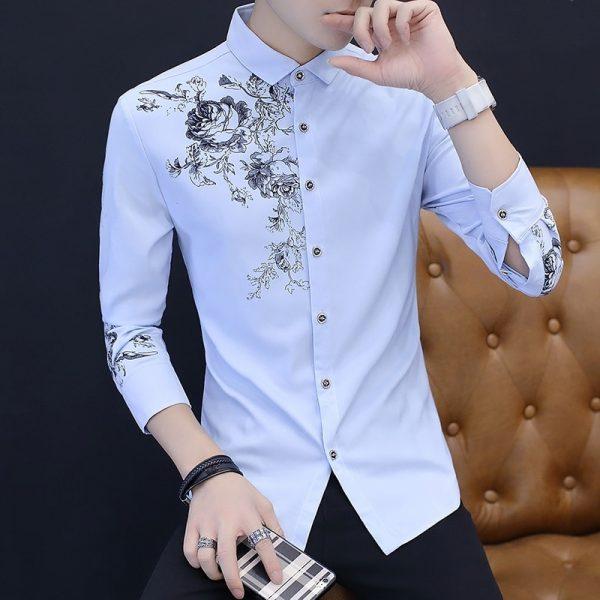 Fashion Rose Pattern Print Shirt