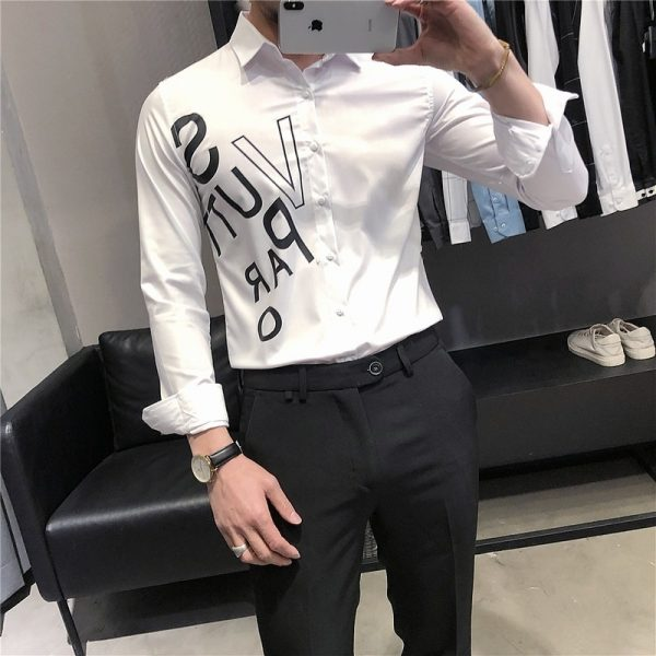 Letter Printed Men Casual Shirts