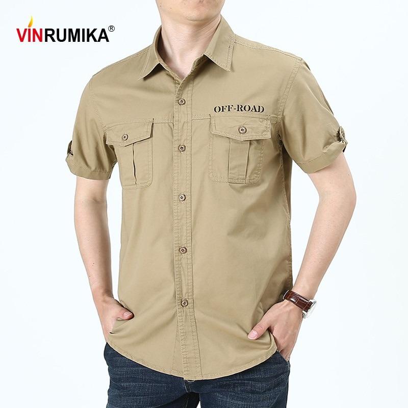 Summer Men Military Casual Shirts