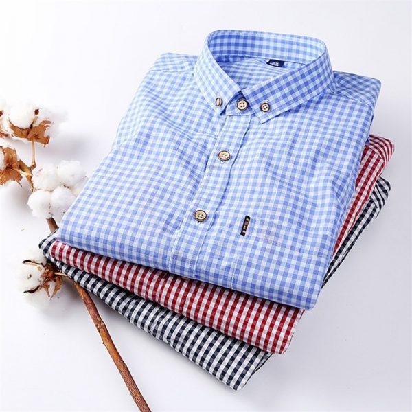 100% Cotton Checkered Dress Shirt6