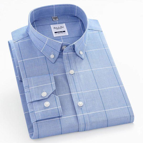 100% Cotton Fashion Plaid Oxford Shirt6