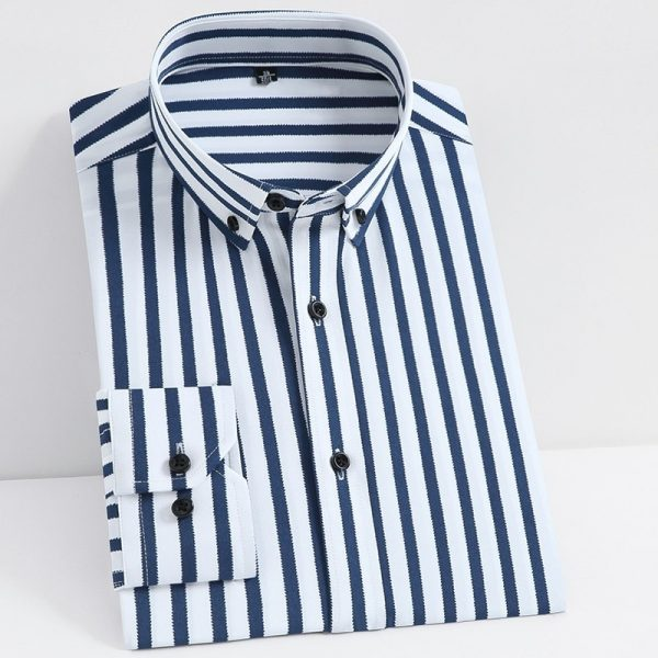 Classic Stretch Striped Basic Shirt