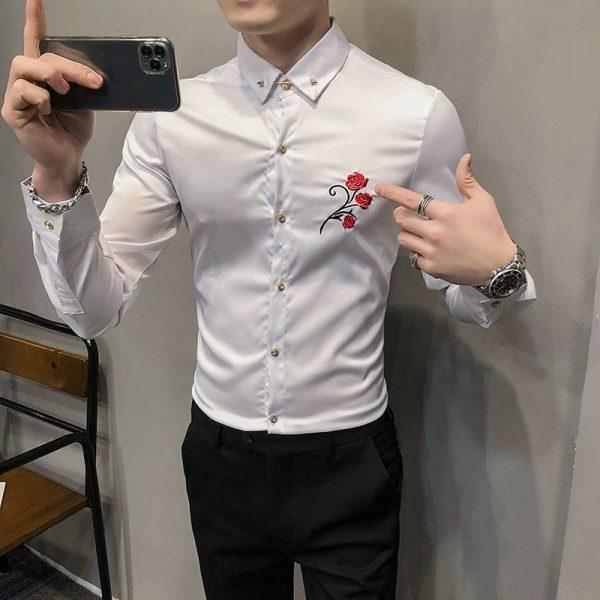Embroidery Long Sleeve Tuxedo Shirts