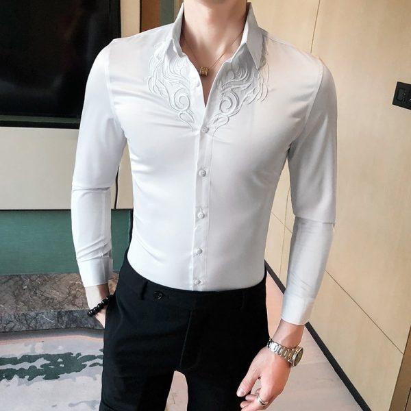 Embroidery Shirts Men Tuxedo Dress
